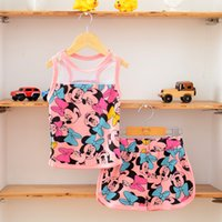 Wholesale 2015 summer children outfits girls cartoon mickey Minnie mouse net yarn splicing vest shorts sets girl s clothes A6142