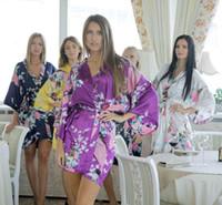 short kimono - Short Style Woman Peacock Printed Silk Kimono Robes Wedding Party Bridesmaid Robe Plus Size S xxL color DHL