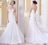 Wholesale 2015 Lace Mermaid Wedding Dresses Sweetheart Fitted Bridal Gowns Sleeveless Zipper Back Customized White Lace Appliques Organza Chapel Train