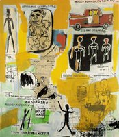 aboriginal arts - art Painting canvas abstract aboriginal by Jean Michel Basquiat High Quality Handmade