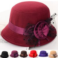 Wholesale 2015 England Flower Rose Bucket Hat Autumn Winter Adult Women Fedora Hat Dome Hat Vintage Bowler Caps Ladies Headwear Bucket Hat