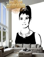 bedroom set classic white - Black and white Wall Mural POP art Audrey Hepburn Photo Wallpaper Canvas Silk Large Wall Art Room decor Setting wall decorative wallpaper