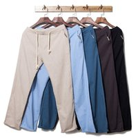 Wholesale 2015 Casual Fashion Men Hemp Linen Jogger Pants Colors Comfortable Male Straight Trousers Drawstring Plus Size M XL Free Drop Shipping