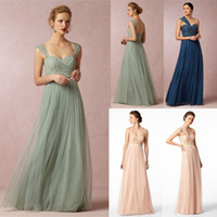 A-Line imports - 2015 Cheap Imported Mint Green Navy Blue Long Bridesmaid Dresses Removable Straps One Shoulder Halter Lace Dress For Weddings Tulle B2297
