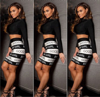 bad dress - New Sexy bad girl Print white and Black Piece Set Women Two Piece Dress Bodycon Outfits Bandage Dresses