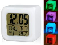 Wholesale US STOCK Glowing LED Night Light Color Changing Digital Alarm Clock