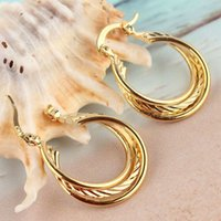 Wholesale Hot Sell Party Travel Gift For Classic Women New k Gold Filled Environmental Hoop Earrings Jewelry CB0898