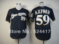 milwaukee - Milwaukee John Axford Cool Base Dark blue Jersey Embroidery Logoes and retail