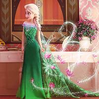 Cheap 2015 Frozen Fever ELSA dresses party dress princess costume Frozen fever cosplay elsa dresses girls Kids dance lace cape dress