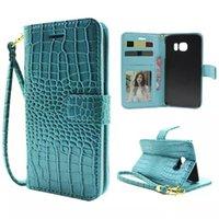 Croco Serpiente Cartera de cuero de la bolsa para la galaxia S6 SVI Edge G9250 HTC uno M9 tarjeta de crédito Frame Photo Stand caso de la piel cubierta de la correa de la cuerda de seguridad