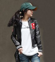 Wholesale B flag letter faux leather PU clothing stand collar leather clothing jacket for women PY091PY