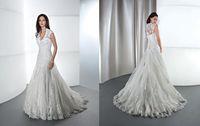 Cheap 2015 A Line V Neck Lace Demetrios Wedding Dress 1437 Appliques Beads Crystals Sequins Pleats Tulle Bottons Sweep Train Vestido Bridal Gowns