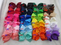 baby silk quality - 5inch high quality grosgrain ribbon baby boutique hair bows WITH CLIP for children hair accessories