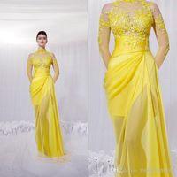 zuhair murad dress - Zuhair Murad New Yellow Long Sheer Sleeves Evening Dresses High Neck sheer Prom Dresses Celebrity Dresses Lace appliques chiffon