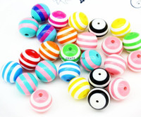 Wholesale 100pcs STRIPED mm Chunky Beads Resin Vintage Style Round big striped resin beads mix color