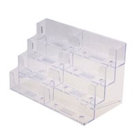 Wholesale 8 Pocket High Quality Desktop Clear Acrylic Business Card Holder Display Stand Tool