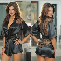 sauna suit - Women s Black Sexy Silk Lace Underwear Kimono Gown Bath Robe Lingerie See Through Sleepwear Sauna Bathing Suit G string Plus Size LRL06