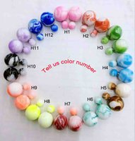 Wholesale New products Double pearl stud earrings Candy Colors Ball Stud Earrings Women s Pearl Stud Earrings Colors
