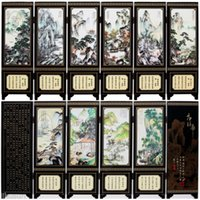 Wholesale Chinese Handmade Vintage Mountain River Wooden Lacquer Six Pieces Folding Screen
