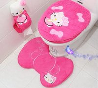 Wholesale New Arrival Beautiful Plush fleece bathroom mat carpet piece set toilet cover set o ring toilet mat and Mats