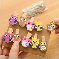 Wholesale 16 cm Creative cartoon owl rope wood clip cute photo clip Z1459