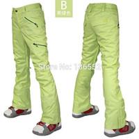 Wholesale Womens light green ski pants female skiing snowboarding pants ladies winter outdoor sports trousers waterproof K thermal top quality