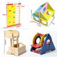 Wholesale 1Pcs Pet Rat Toy Climbing Ladder Mouse Wooden Hamster Funny Exercise Lookout Tower Swing Molar Colorful Natural