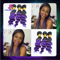 Cheap Hot selling 6A 3pcs ombre purple Indian remy hair 100% ombre cheap human hair weaving two tone ombre body wave hair bundles