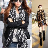 Wholesale New Fashion Women Cape Shawl Skull Scarf Winter Chiffon Scarves Wrap Shawl S6