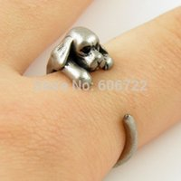 Al por mayor-de Retial bronce antiguo / Silver Animal Perro Wrap anillo Cocker spaniel Anillos perro de la mujer del mejor amigo