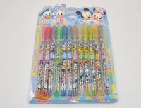 Wholesale 1 Set Cartoon Mickey Minnie Mouse Colors Glitter Pens Office School Markers Highlighter Pens Stationery Set Supplies