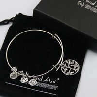 bags copper sets - mm diameter silver plated alex and ani New design tree of life Charm bracelet with box Drawstring bag