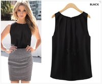 Wholesale 2016 new women s fashion round neck sleeveless chiffon shirt vest neckline folds black and white bicolor cool and breathable