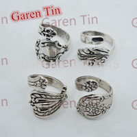 bands silver spoon - New Arrival Exquisite Jewelry drop shipping vintage silver spoon ring
