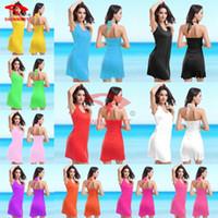 blue deep clothing - Hottest colors swimwear deep V neck sun crossing beach dress clothes one skirt Bikini Wrap Dress cotton dress sarong cover ups VB002