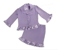 Reference Images Girl Ruffle Two Pieces 2016 Spring girl suit dresses Purple children dance ball is suitable for the girl's beauty pageant interview dress Custom Made