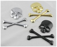 best badge materials - Best price D M Car Accessories Metal Car Stickers Skull Emblem Badge Car Styling For car motorcycle