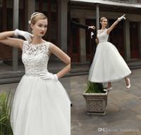 vintage 2014 lace beaded sheer neck wedding dresses beach bridal gown short tea length tulle designer a line informal wedding dresses um2420