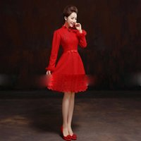 Wholesale 2014 New Design Women Cheongsam Chinese Traditional Bride Wedding Dresses Long Sleeve Lace Dresses Toast Clothing with Bow knot Red