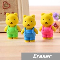 Wholesale 30 Teddy bear Erasers rubber for pencil kid Removable BIB PANTS Novelty Toy gift stationery Office school supplies