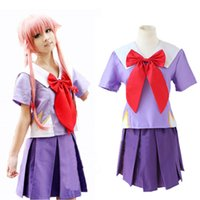 high school uniforms - The Future Diary Heroine Gasai Yuno Mirai nikki Cosplay Costume High Quality Custom School Uniform full set colthes