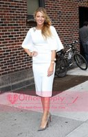 award short - Blake Lively Short Celebrity Dresses Little White Chiffon Sheath Knee Length Bateau Neck Half Long Sleeves Party Evening Gowns BO7043