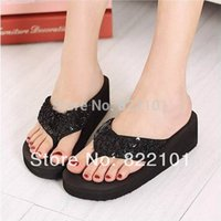 Cheap Free shipping New summer fashion Glitter women's sandals Flip Flops Beach wedge slippers size 35-40 black red white brown red