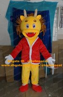 Cheap Cool Yellow Chinese Dragon Loong Mascot Costume Mascotte Dinosaur With Happy Face Red Coat White Glovers Adult No.3770 Free Ship