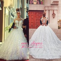 Wholesale New Hot Saudi Arabic Ball Gown Wedding Dresses Jewel Neck Long Sleeve Lace Appliques Sheer Illusion Sweep Train Formal Bridal Gowns