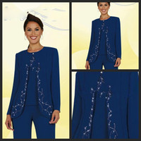 mother of the bride suits - Mother Of The Bride Pant Suits Elegant Blue Chiffon Applique Long Sleeves Sequins Mother Of The Bride Pant Suits With Jacket