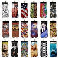 Cheap 3d socks kids women men hip hop socks 3d odd socks cotton skateboard socks printed gun emoji tiger skull socks Unisex socks DHL Free