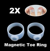 Wholesale 2x Slimming White Silicon Magnetic Foot Rings Massage Fat Burner Toe Ring Pairs of Magnetic Toe Rings