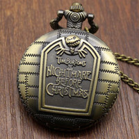 Wholesale Vine nightmare before christmas pocket watch necklace hot cartoon bronze quartz pocket watches with chain high quality D375