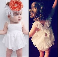 Wholesale 2 Set Summer Baby Girls Jumpsuit Baby Girl One Piece Romper Baby Lace Dress Clothing Kids Jumpsuit Outfits Sets B